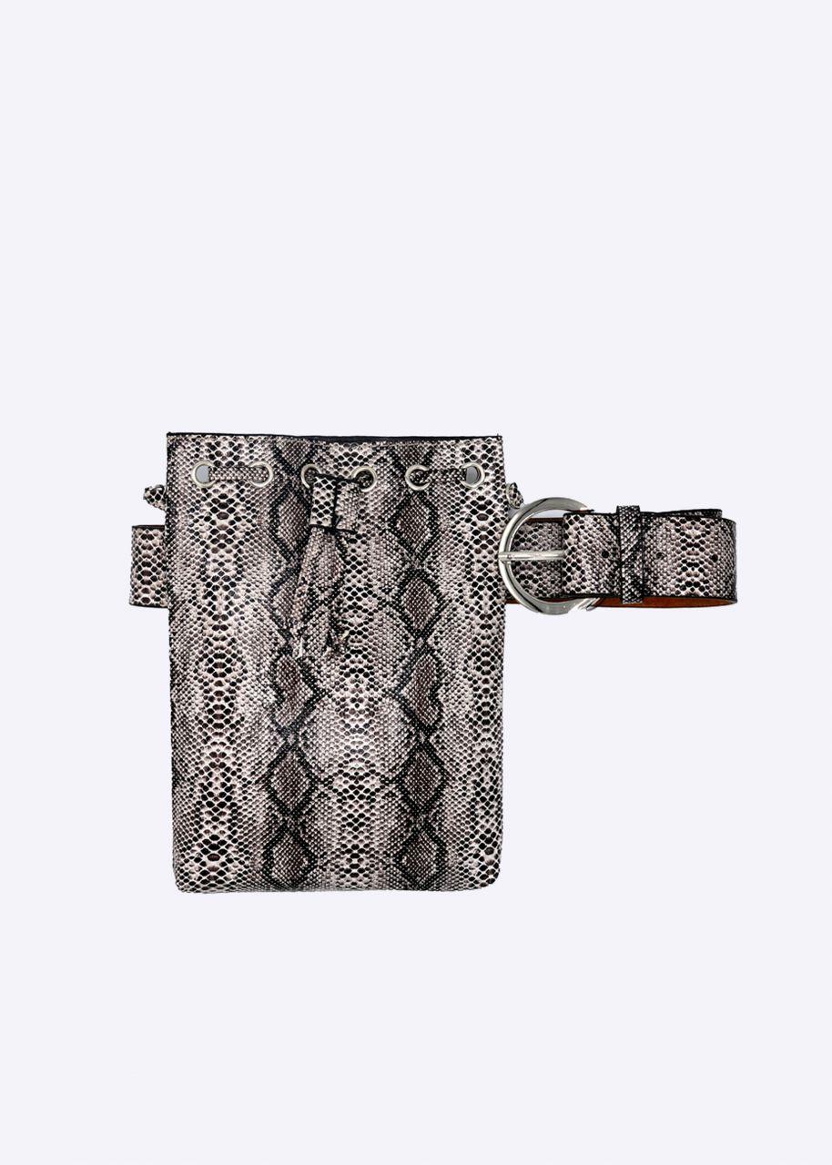 Gürteltasche/Brustbeutel in Snake-Print, braun/beige