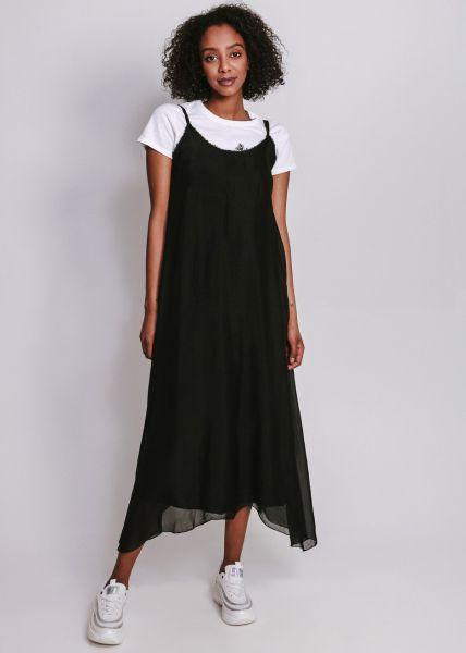 Slip-Dress aus Seide, schwarz