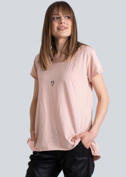 Oversize T-Shirt mit Herz, rosa