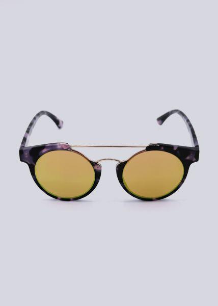 Sonnenbrille mit goldenem Steg, Leo lila