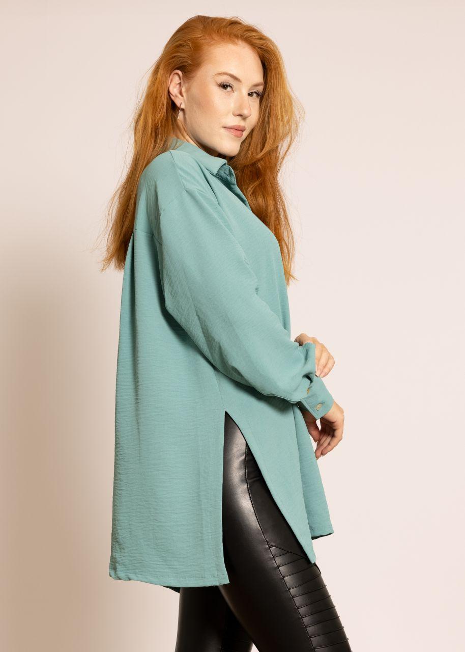 Oversize Blusenjacke mit hohen Schlitzen, grün