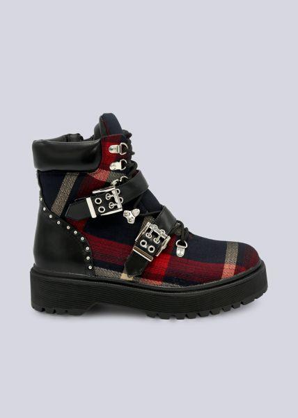 Schnür-Boots in Karomuster, schwarz