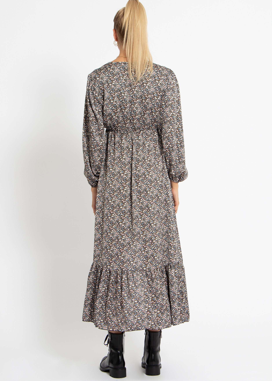 vokuhila-kleid mit blumen-print, schwarz