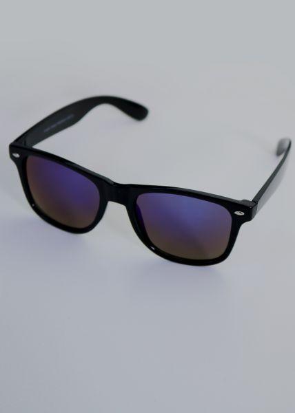 Spiegelbrille, schwarz