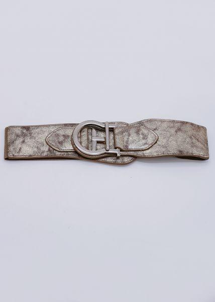 Stretchgürtel mit silberner Schließe, braun / gold