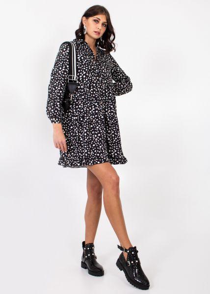 Kleid mit Tupfen-Print, schwarz