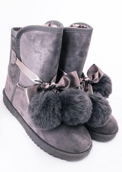 Fell-Boots mit Bommeln, grau