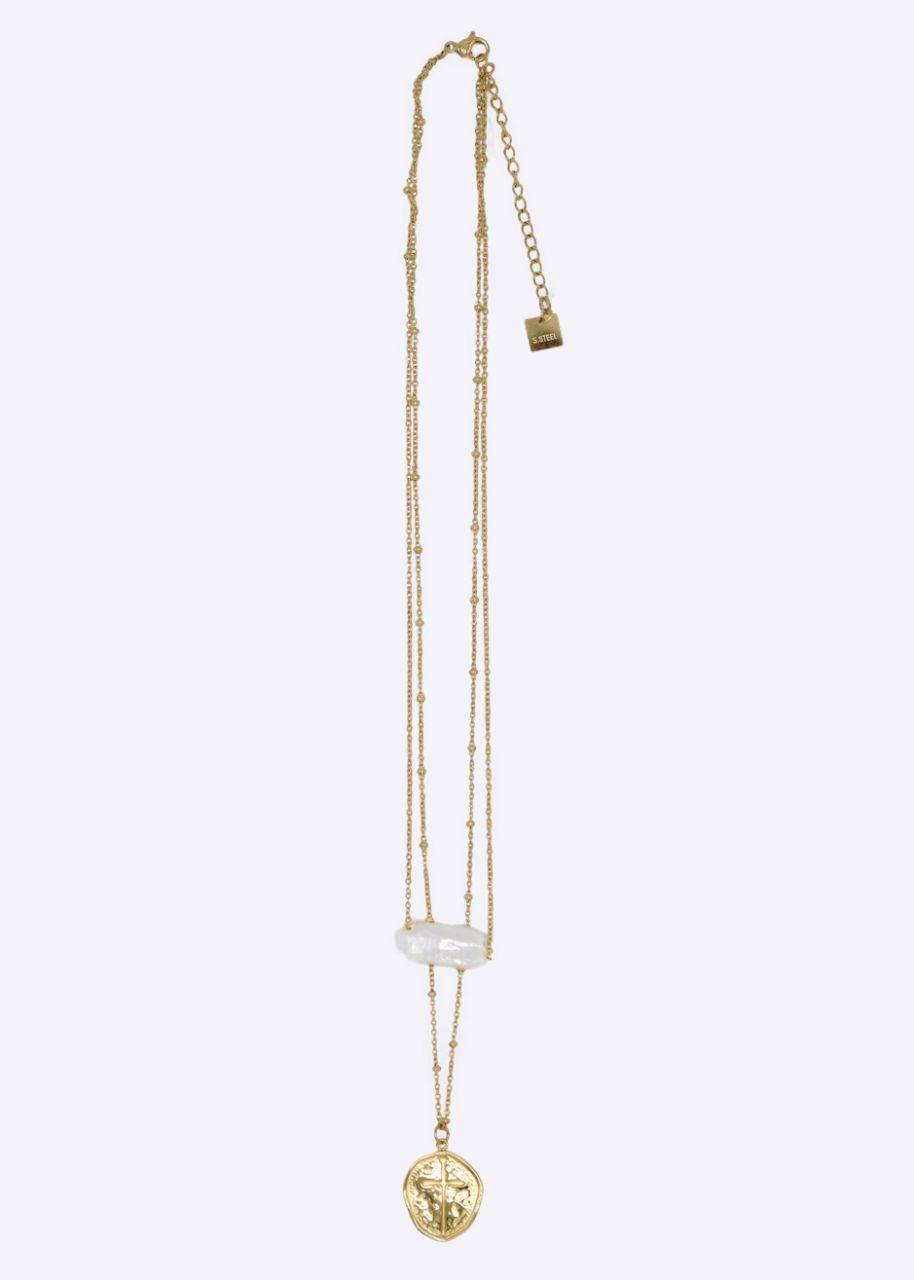 Kombinierte Halskette mit Kreuz-Anhänger und Perle, gold