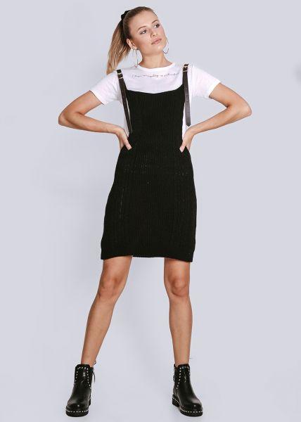 Strick-Trägerkleid, schwarz