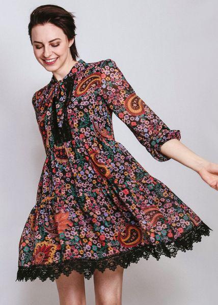 Hängerchenkleid mit Paisley-Muster, schwarz