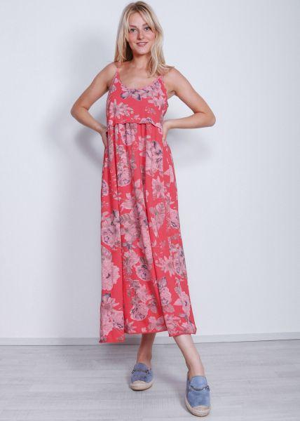 Maxi Jersey-Kleid mit Blumenprint, rot