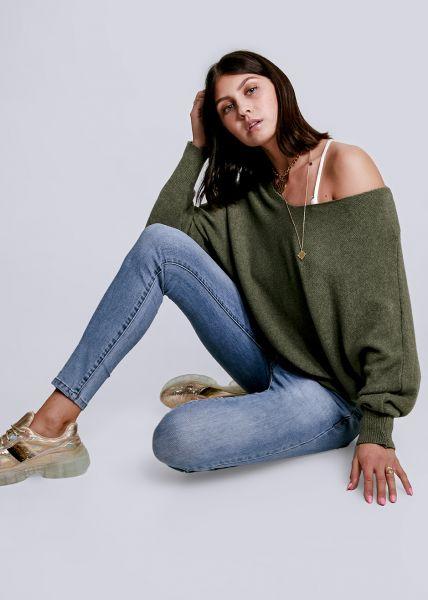 Oversize Pullover mit V-Ausschnitt, khaki