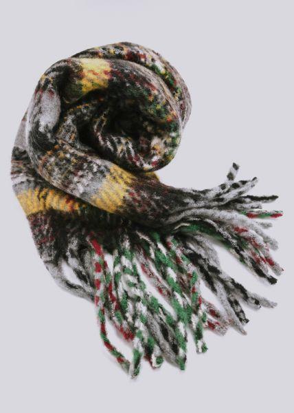 Flauschiger Karo-Schal, schwarz/ gelb/ grün