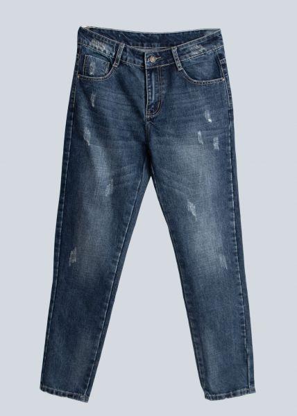 Boyfriend-Jeans, leicht destroyed, blau