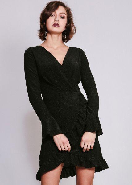 Kleid in Wickel-Optik, schwarz