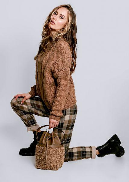 Pullover mit Zopfmuster, camel