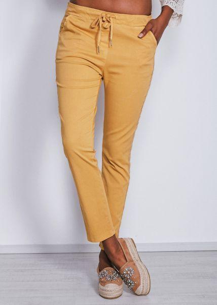 Knöchellange Schlupfhose mit seitlichen Streifen, gelb
