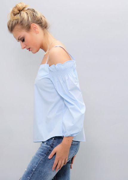 Schulterfreie Bluse, hellblau