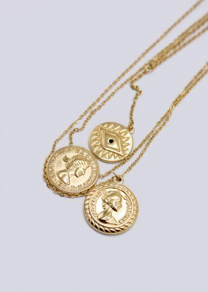 Mehrlagige Halskette mit 2 Münzen und Auge, gold