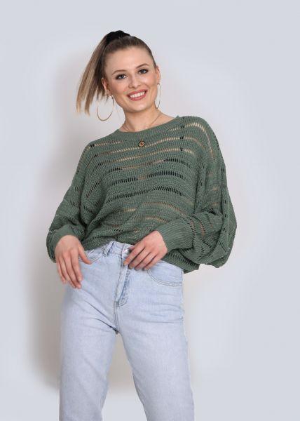 Pullover mit Lochmuster, grün