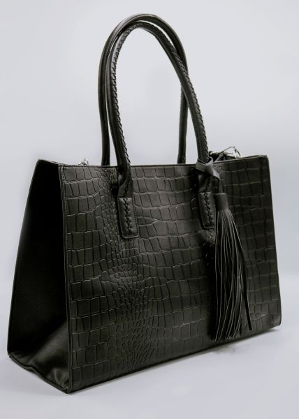 XL Shopper in Krokomuster, schwarz