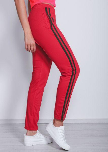 Lounge-Pants mit Streifen rot