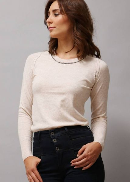 Pullover mit Strasssteinchen, beige