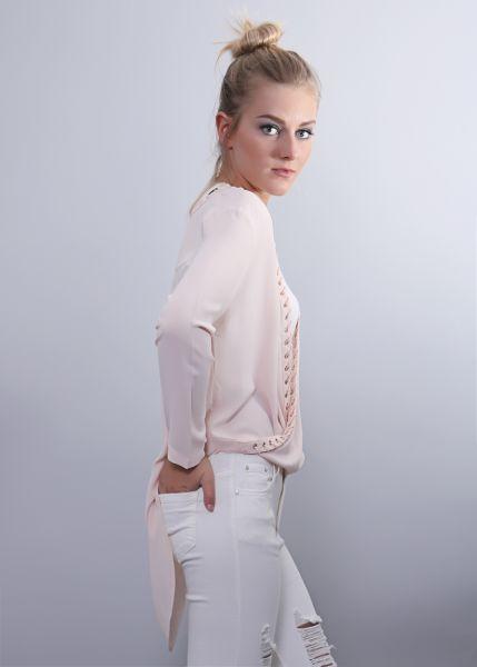 Wasserfall-Bluse, rosa