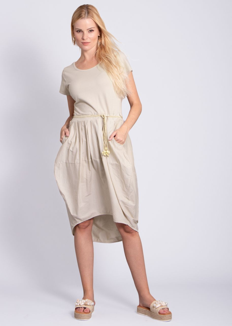 Kleid mit Tulpenrock, beige