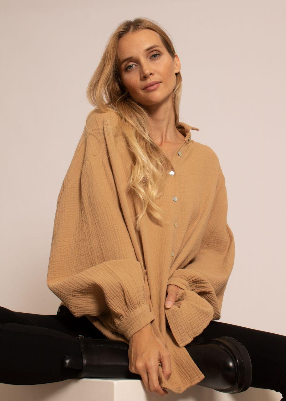 Ultra oversize Blusenhemd, kürzere Variante, camel