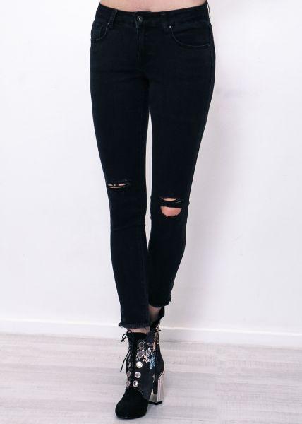 Knöchellange destroyed skinny Jeans, schwarz