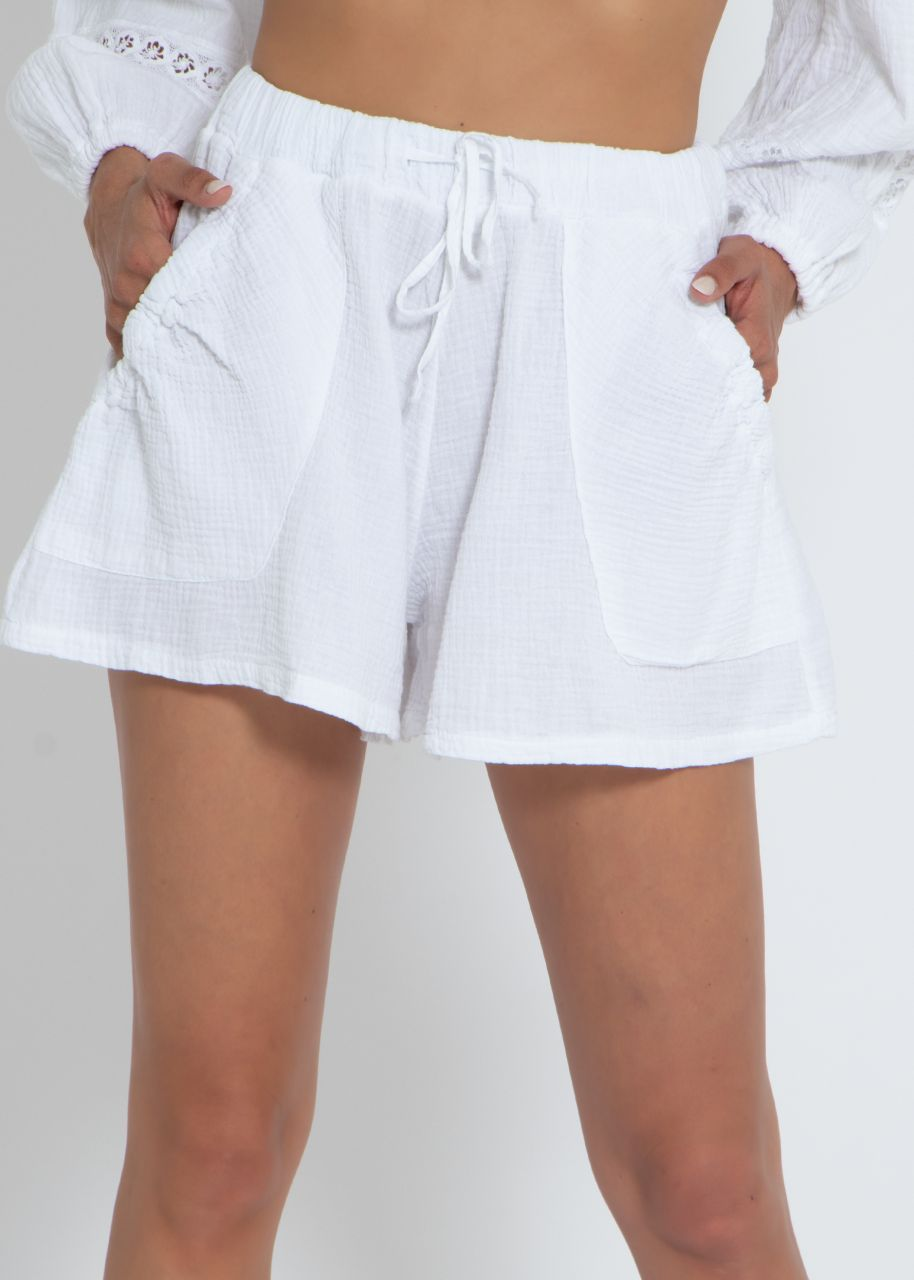 Ausgestellte Musselin Shorts, weiß