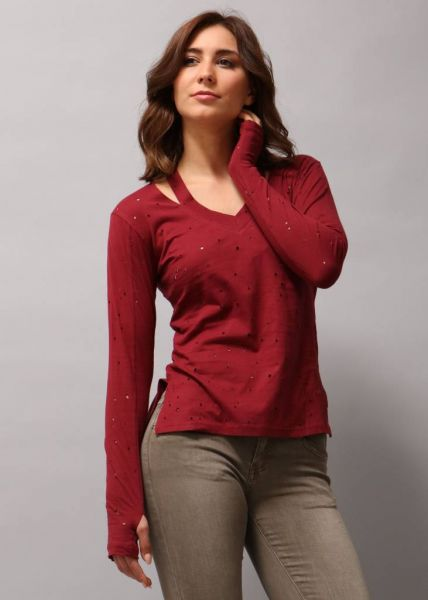 Baumwoll-Shirt mit Cutouts, weinrot
