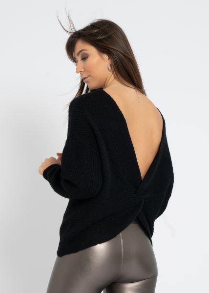 Pullover mit geschlungenem Rückenausschnitt, schwarz