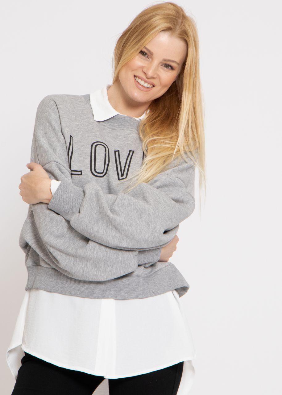 Cosy Oversize Sweatshirt LOVED, grau