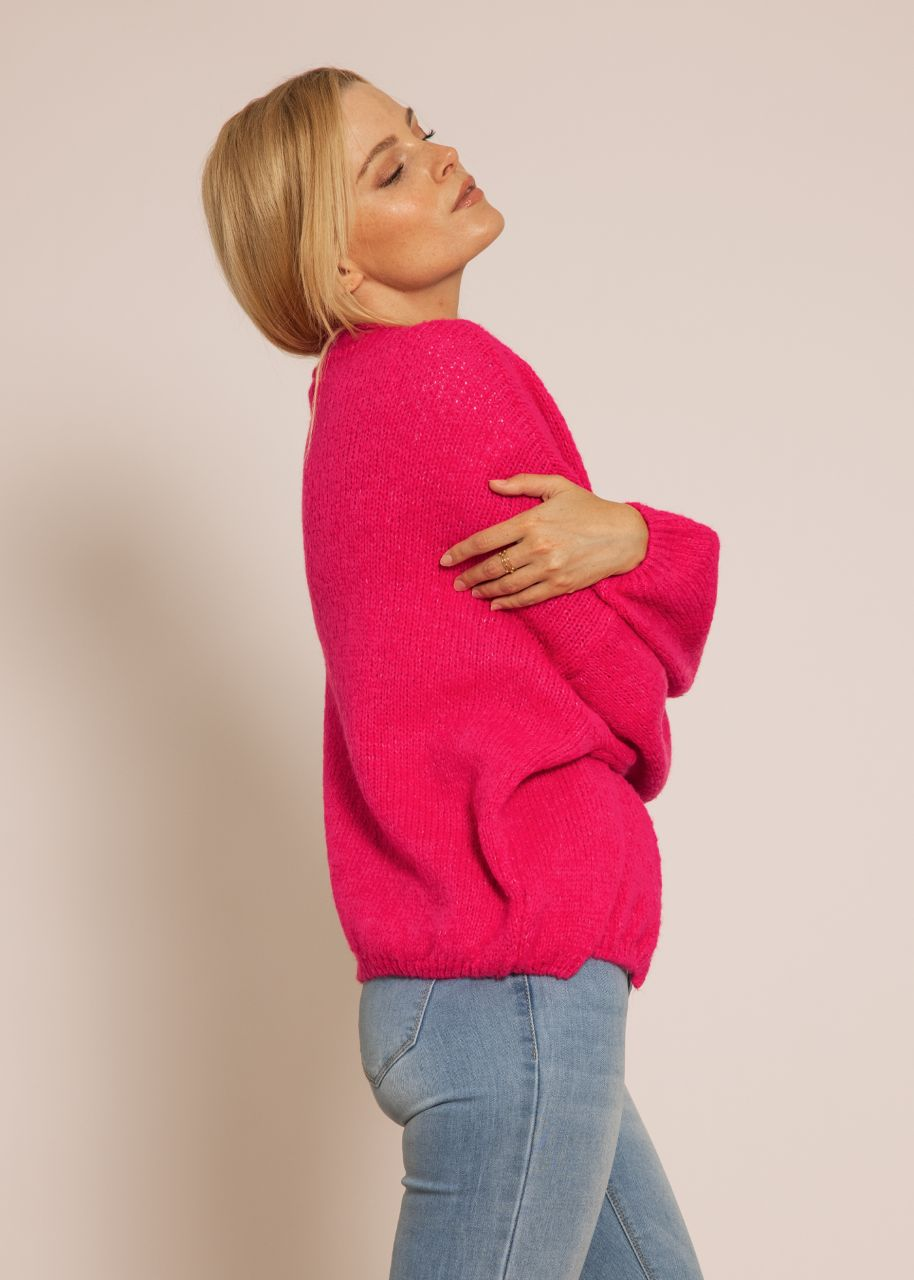 Oversize flauschige Strickjacke, pink
