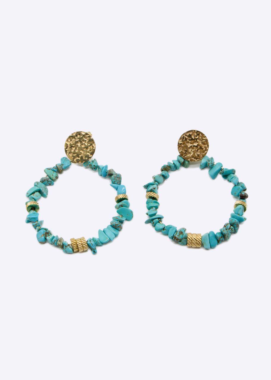 Ohrhänger mit Amazonit Perlen, türkis/gold