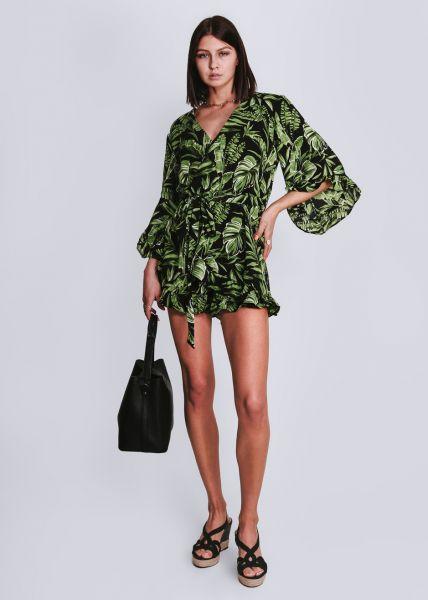 Jumpsuit mit Palmen-Print, schwarz