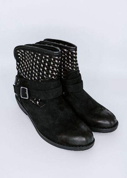 Boots mit Flechtmuster, schwarz