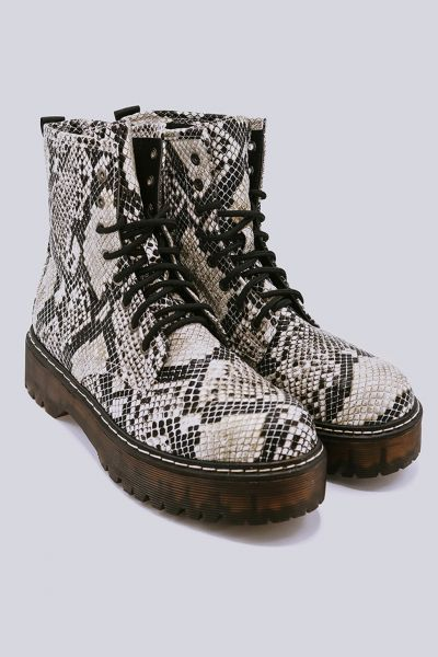 Plateau-Boots in Snake-Optik, beige