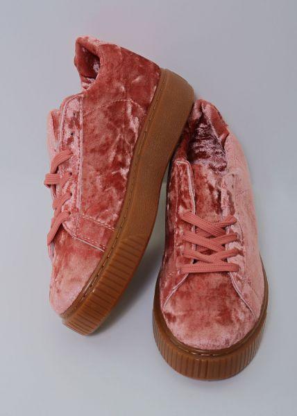 Velvet-Sneaker, lachsrot