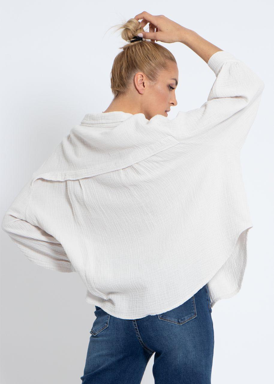 Ultra oversize Blusenhemd, kürzere Variante, hellbeige