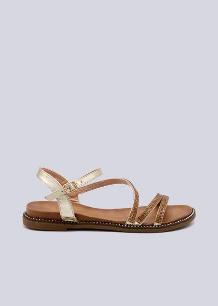 Sandalen mit Glitzersteinchen, gold