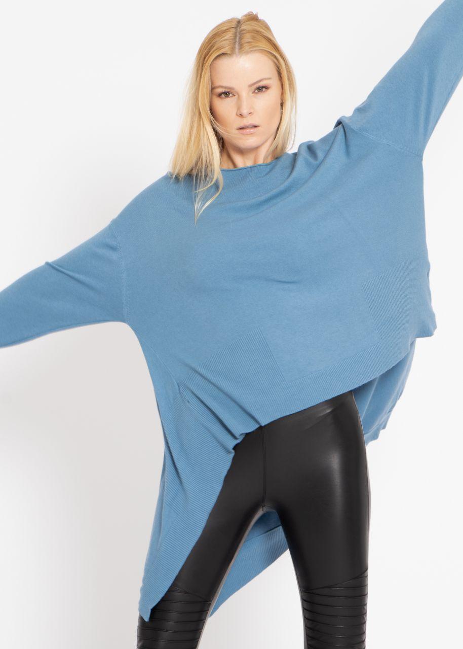 Oversize Pullover, hinten lang, blau
