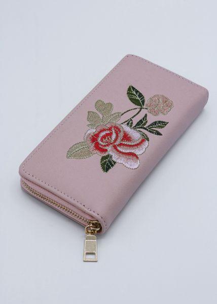 Geldbörse mit aufgestickten Blumen, rosa