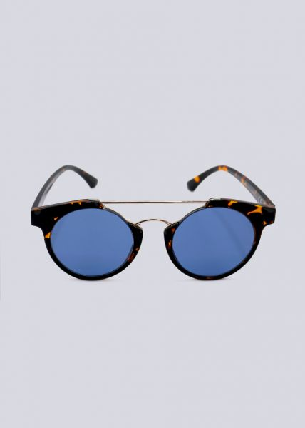 Sonnenbrille mit goldenem Steg, Leo braun
