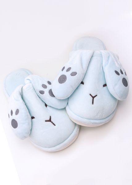 Hasen-Slippers, hellblau