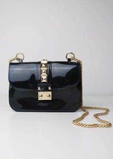 Jelly Bag mit Nieten, schwarz