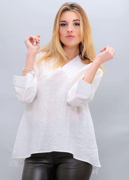 Oversize Hängerchen-Bluse, weiß