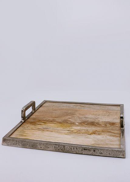 Holztablett mit silberner Umrandung
